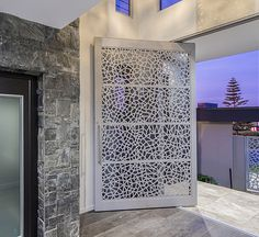 Bring the outside in but with peace of mind with Screen Art. Custom sliding entrance door in Atomic pattern.  http://www.screenart.net.au