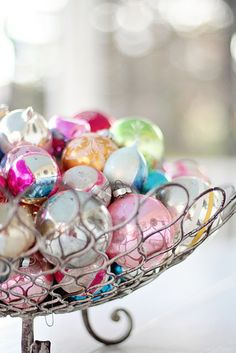 basket of vintage ornaments