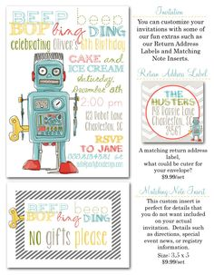 robot birthday party, robot party invites, robot invitations, boy party invites, birthday boy