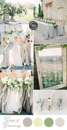 romantic grey and white garden wedding color palette