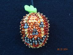 SALE:   Halloween Pumpkin sequined and beaded Ornament by NanaJansXmasCrafts on Etsy