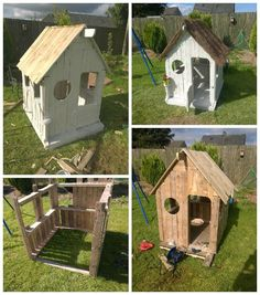 Wendy pallet house pallet huts, cabins & playhouses pallet h Pallet Playhouse, Pallet Shed, Pallet House, Pallet Fort, Playhouse Outdoor, Pallet Fence, Outdoor Play, 1001 Pallets, Recycled Pallets