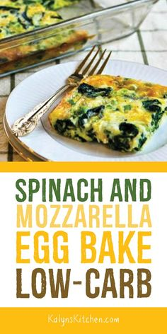 This Low-Carb Spinach and Mozzarella Egg Bake has spinach, mozzarella, and green. - This Low-Carb Spinach and Mozzarella Egg Bake has spinach, mozzarella, and green onion and just eno - Egg Recipes, Brunch Recipes, Real Food Recipes, Diet Recipes, Cooking Recipes, Healthy Recipes, Tailgating Recipes, Barbecue Recipes, Barbecue Sauce