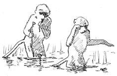 Steppenpaviane nutzen noch heute flaches Wasser für die Nahrungssuche (Rechte: Niemitz)