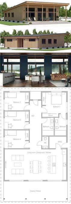 Architecture House Plan, Home Plans, Planta de Casa, Casa, New House Plans, Small House Plans, Modern House Floor Plans, Plan Chalet, Casas Containers, Sims House, House Layouts, House Layout Plans, Home Design Plans