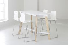Teton Standing Table, part of the Teton table series, takes a modern spin on a classic workshop feel with a playful, expressive twist.
