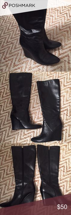Stylish leather wedge boots Awesome fit! Awesome style. Leather. Fully lined in soft material for comfortable fit. Medium width. Shoes Wedges