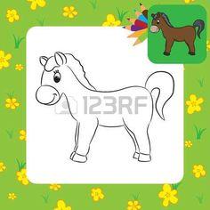 Cartoon cheval Coloriage Vector illustration photo