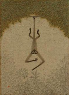 """ymutate:  Toshiyuki Enoki, """"Shinagawa Monkey"""" 2007, ink and acrylic on canvas panel found atwww5.ocn.ne.jp"""