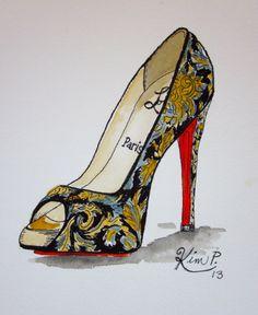 Original Fashion illustration:    louboutin fall 2013 inspired shoe painting  original pen and watercolor via Etsy