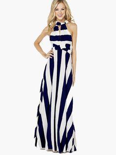 Splendido abito donna a righe scollo a V Maxi lungo e sexy senza maniche  Vestito Bianco 6e17b41ce65