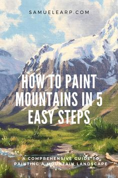 How to Paint Mountains in Five Easy Steps In this painting tutorial I will show you how to paint a mountain landscape in 5 easy steps. Learn how to create the composition, mix the colours and create atmospheric perspective in your painting. This painting Oil Painting Tips, Acrylic Painting Lessons, Simple Acrylic Paintings, Acrylic Painting Techniques, Beginner Painting, Acrylic Painting Canvas, Acrylic Landscape Painting, Watercolor Landscape Tutorial, Watercolour