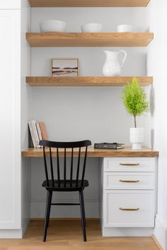 Kitchen Nook with Built In Desk and Shelves - Transitional - Kitchen Mesa Home Office, Home Office Design, Home Office Decor, Home Decor, Office In Bedroom Ideas, Office Ideas, Tiny Home Office, Home Office Closet, Home Office Table