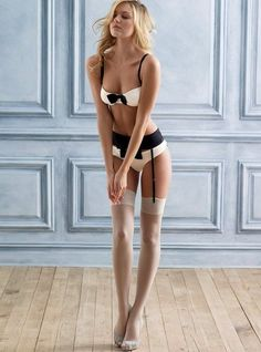 Black and white lingerie on the neverending legs of Candice Swanepoel