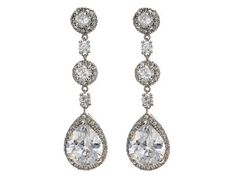 Elegantly designed classic crystal drop earrings crowned with cubic zirconia accents. These earrings are brass with rhodium plating (shown in silver finish) and come standard with a post back. Bridal Accessories, Wedding Jewelry, Jewelry Box, Jewelery, Jewelry Accessories, Stylish Jewelry, Jewelry Ideas, Wedding Earrings, Diamond Are A Girls Best Friend