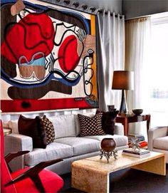 Wall art behind sofa