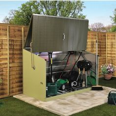 W x 3 Ft. D Overlap Pent Metal Tool Shed Trimetals Siding Colour: Light Green / Green, Floor: Yes Storage Shed Designs Ideas, Storage Sheds For Sale, Shed Design Plans, Shed Storage, Small Storage, Tool Storage, Storage Organization, Garden Storage Units, Gym Shed
