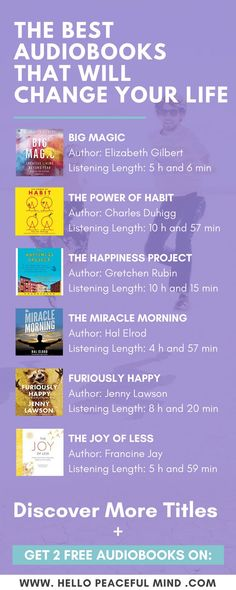 Get 2 FREE audiobooks and discover the best books for self-help, healthy living, relationship and creating a happy home. Head over to http://www.HelloPeacefulMind.com to get your 2 free audible credits!