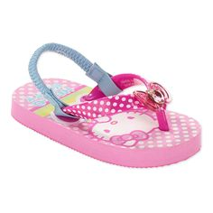 Hello Kitty Polka Dotted Flip Flops with Backstraps -- You can find more details here : Girls sandals