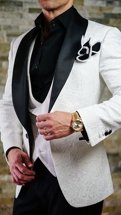 S by Sebastian White & Black Paisley Dinner Jacket