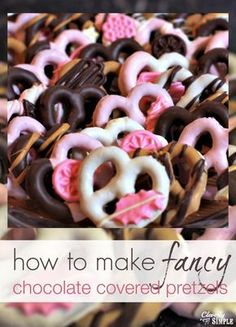 Chocolate covered pretzels are an inexpensive treat.  Here's how to make them fancy with very little extra effort.  You can adapt them for any baby shower or for even a wedding favor.