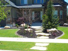 vorgarten gestaltung kies bruchsteine bäume pflanzen