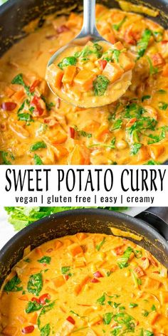 This Sweet Potato Curry is made in one pot and packed with flavor. A keeper that the whole family will love even pickiest kids. No one would ever tell it is naturally vegan. dinner family Sweet Potato Curry [vegan, one pot] - Contentedness Cooking Tasty Vegetarian Recipes, Curry Recipes, Healthy Recipes, Veggie Recipes, Vegetarian One Pot Meals, Coconut Curry Vegetarian, Easy Vegan Curry, Easy Delicious Dinner Recipes, Healthy Chinese Recipes