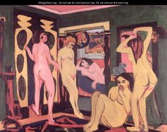 Bathers in a Room - Ernst Ludwig Kirchner