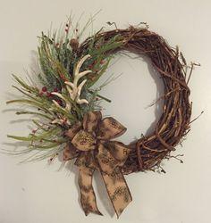 Winter Deer Antler Wreath by DoeEyeBoutique on Etsy