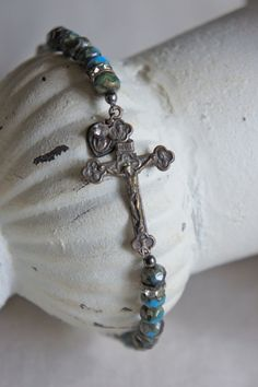 Vintage assemblage bracelet bronze sideways cross by frenchfeatherdesigns