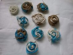 Lot 10  shabby to chic burlap turqouise flowers with pearl centers OOAK wedding #Handmade