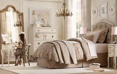Padded Bed head, elegant bed side tables and chair and love the free sanding mirror.