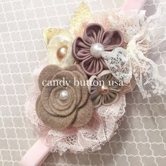 Felt Rose Lace Baby Headband Baby Hairclip by candybuttonusa