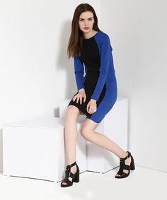 Yepme Jade Color Block Bodycon Dress - Blue & Black