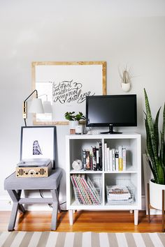 3 Ways to Style and Use Ikea's Kallax (Expedit) Shelf: Media Stand #theeverygirl