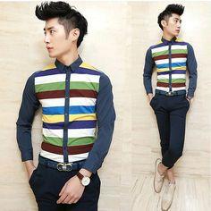 Spring 2014 Long-sleeve Colorful Stripe Fashion Design Shirt Slim Asian Men Clothing Wholesale $25.88
