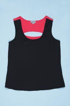 Blusa Aruba preta com pink