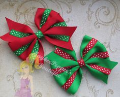 Christmas Hair bow 4 Pinwheel hair clip polka dots by JaybeePepper, $4.00