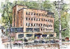 Seodaemun Public Sanatorium for Seniors, pen and watercolor