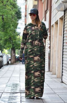Military Maxi Dress / Hooded Kaftan Dress / by SSDfashion on Etsy