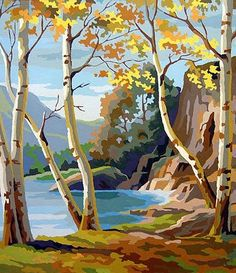 Birch by Lake Paint by Numbers