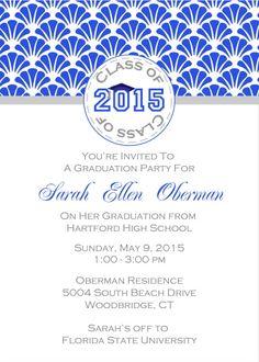 Scallop Graduation Party Invitations
