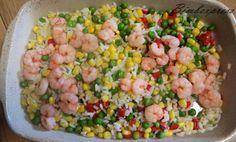 Arroz Colorido com Camarão: 01 lata de milho-01 lata de ervilhas-01 pimentão vermelho,verde,amarelo médio,cortados em cubos-1 e 1/2 depacote médio de camarão pequenos/limpos- sal e temperos a sua preferêrncia e quanto baste.