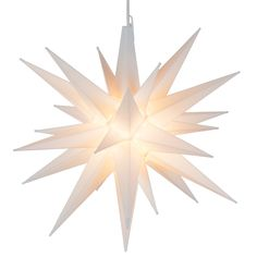 """for $17.84.  Brilliant White Moravian stars illuminate the night sky with a single bulb. 120 volts with Fused plug and 60"""" lead. Great Indoor / Outdoor decoration. Price: $17.84"""