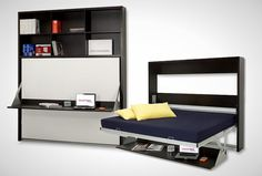 Dotto Bookcase Desk Bed   10 Murphy Beds that Maximize Small Spaces