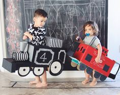 DIY train and red caboose I made for my boys.