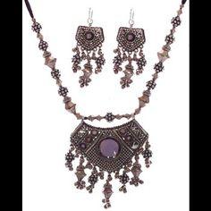 Classic Moon shaped Oxidized Silver Necklace Set  |Kaneesha