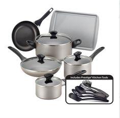 Nonstick Cookware Set Pots Pans Kitchen Cooking 15 Piece Glass Lids Dutch Oven