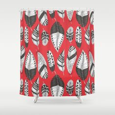 Black and white feathers pattern shower curtain #society6 #showercurtain #feathers #pattern #katerinakart