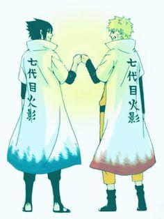 Naruto and Sasuke. All be it Sasuke looks cool in a Hokage coat, only Naruto can be Hokage!